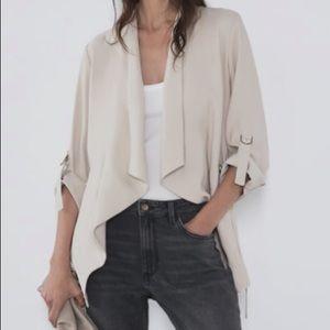 Zara Flowy Drawstring Jacket Sand Tan